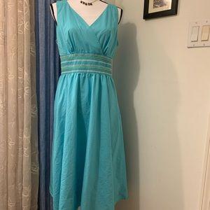 Liz Claiborne Blue Smock Waist Midi Dress